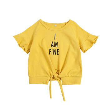 Baby girl t-shirt short sleeve yellow letter pattern t-shirt top cotton soft T-shirt for 1-5T pattern