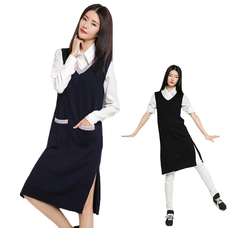 Cashmere Sweater Winter Vest Long Women Sleeveless Knit Long Vest Coat Women Loose Pullover Pocket Black Autumn Vest New 2018