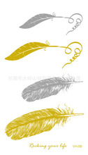 Cute Flash Tattoo Sticker Lady Feather Pattern Of Gold And Silver Metallic Tattoo VH-09