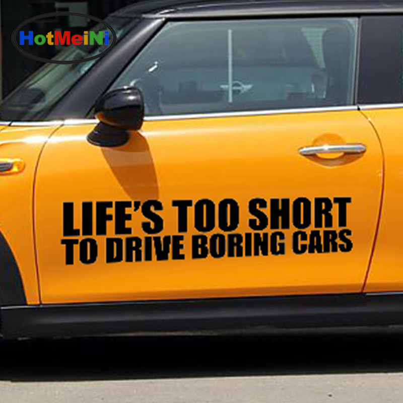 HotMeiNi 2 X Belle Classique Animation Film Lifes Trop Courte Distance en Voiture ennuyeux Voitures Drôle Autocollant De Voiture SUV Porte Vinyle Decal 9 Couleurs