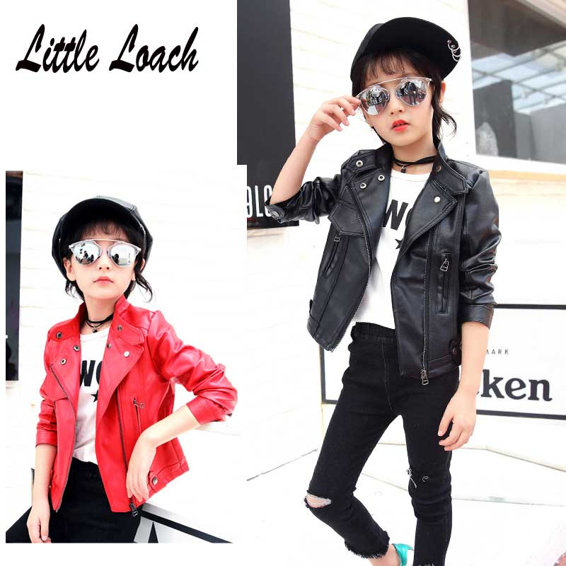 Black Red Pink Soft Coat Spring Autumn 3-12Year Kids Blouse Clothes Cardigan Jaqueta De Couro Infantil Girls Faux Leather Jacket