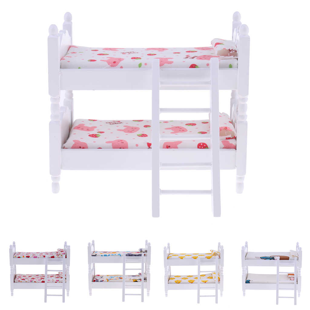 1/12 Scale Dollhouse Miniature Kids Bedroom Furniture Bunk Bed Bunny 1:12 Doll House Decor Pretend Play Collectibles Gift Toy