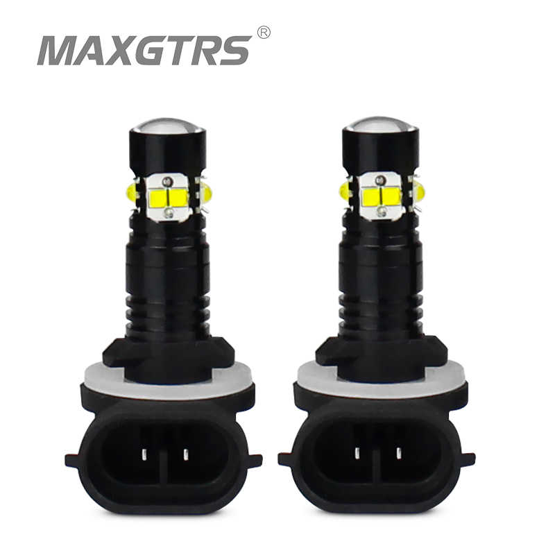 2x H1 H3 H27 881 880 LED 50W CREE Chip Car Daytime Running Light Driving Fog DRL Light Projector Lens Bulb lamp White Red Yellow