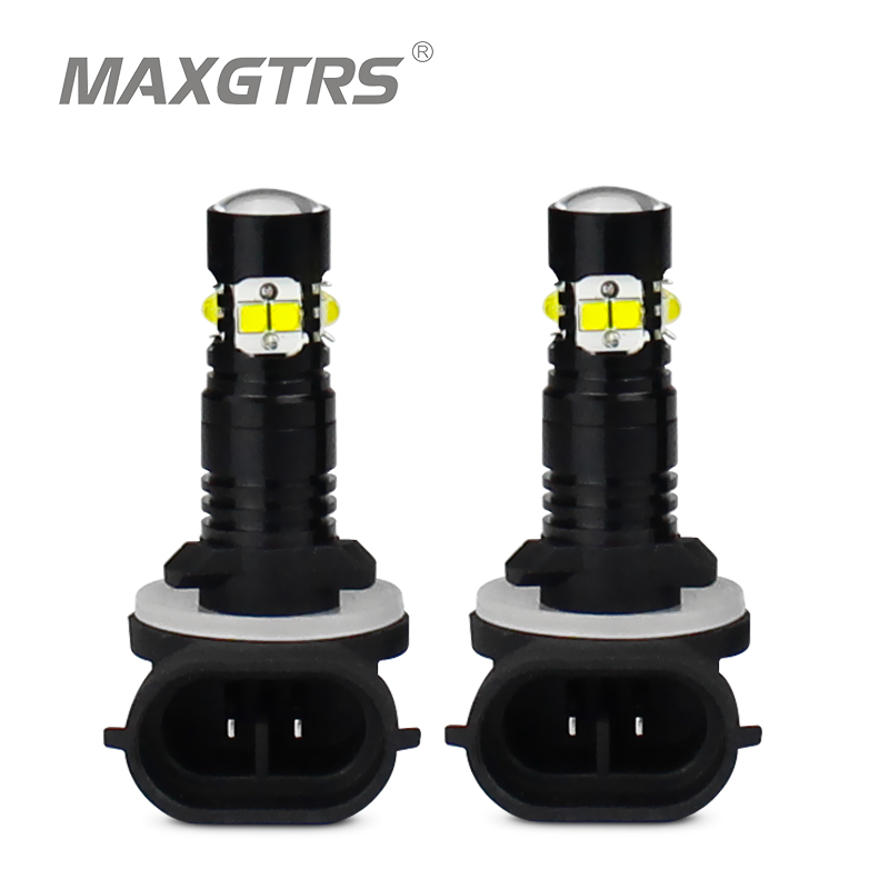 2x H1 <font><b>H3</b></font> H27 881 880 <font><b>LED</b></font> 50W <font><b>CREE</b></font> Chip Car Daytime Running Light Driving Fog DRL Light Projector Lens Bulb lamp White Red Yellow image