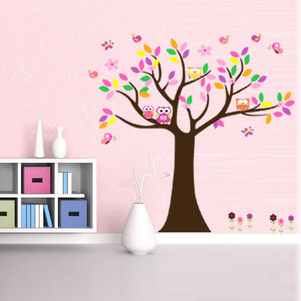 Colorful Tree Happy Owl Wall Sticker DIY For Kids Room Home Decor Art  Decals Wall Stickers Wise Owls Child Bedroom Wallpaper. Compare Prices on Owl Wallpaper  Online Shopping Buy Low Price Owl