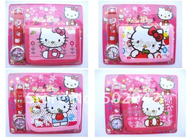 New Free shipping 10pcs hello kitty girl's love watch Wristwatches and 10pcs purses Wallet