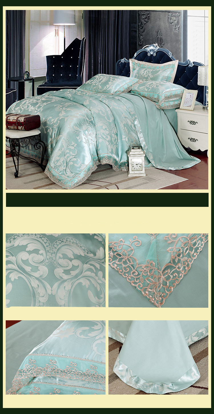 New Luxury Embroidery Tinsel Satin Silk Jacquard Bedding Set, Queen, King Size, 4pcs/6pcs 42