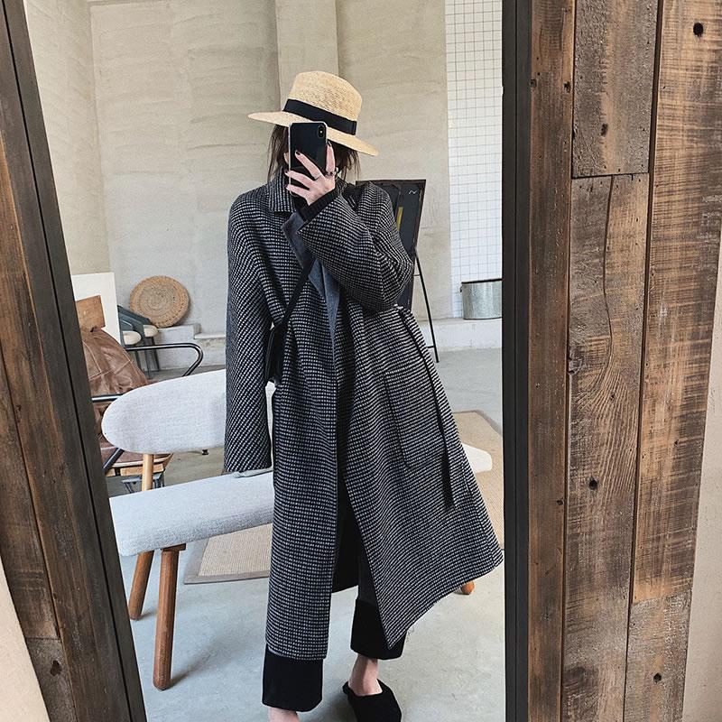 Mode Corée See Manches Collar Long Mélange 2018 Rétro Pleine Nouvelles Femmes Manteau Hiver Tempérament hg De Picture Plaid Casual Turn Dll1272 down EwIzqPER