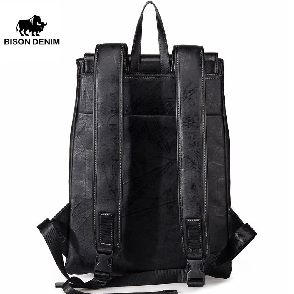 BISON DENIM Large Capacity Backpack 15.6 Inches Laptop Backpacks For Teenager Fashion Travel Waterproof Men Women Backpack N2530