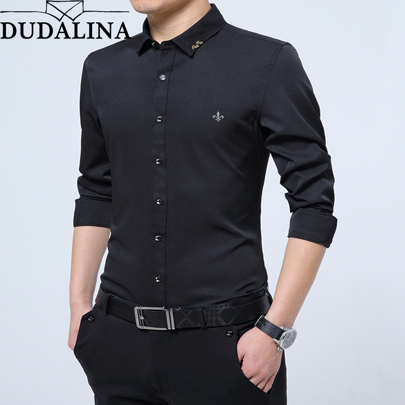 Dudalina Men Shirt 2019 Long Sleeve Shirt Male No Pocket Casual Embroidery Formal Business Man Shirt Slim Fit Designer Dress