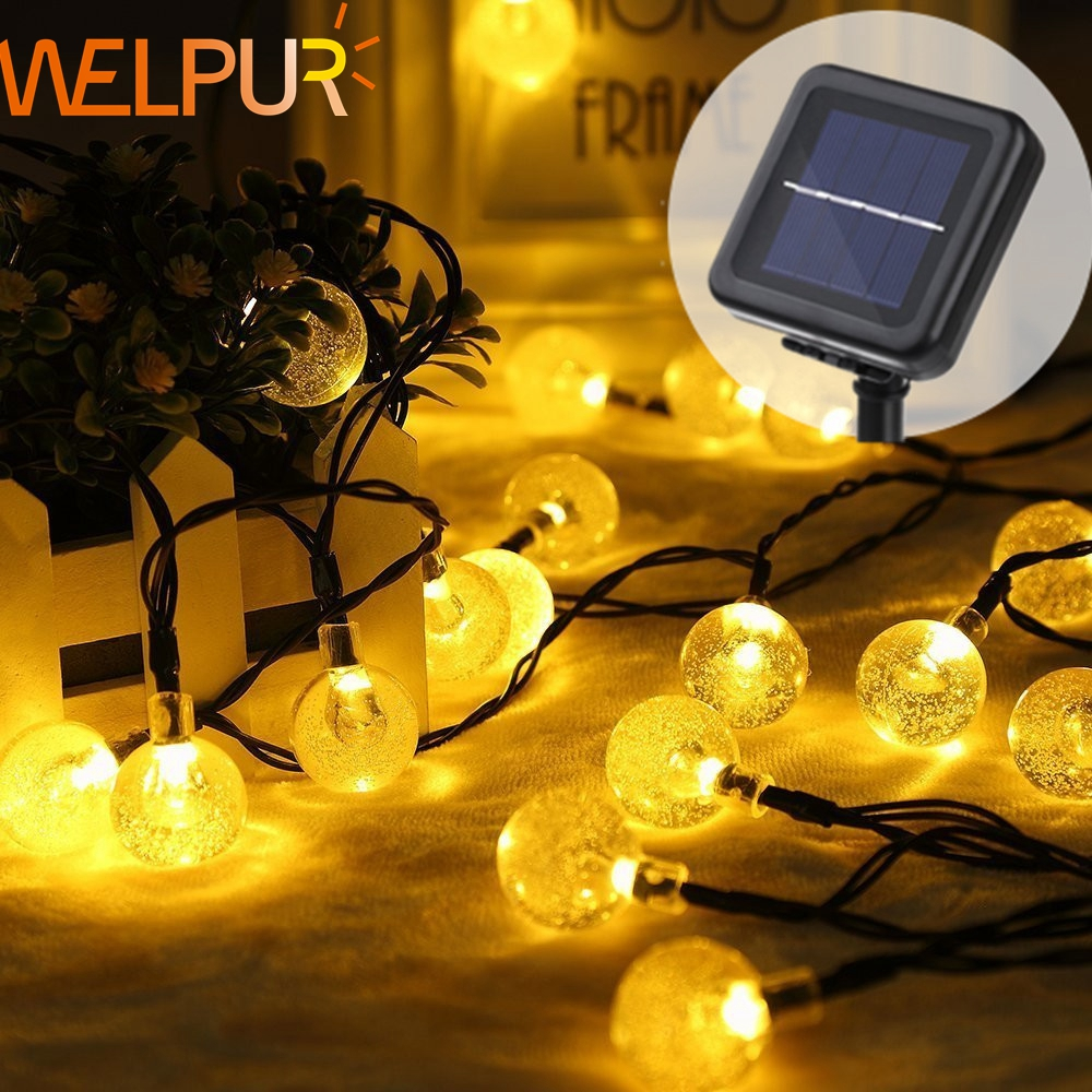 Solar LED String Crystal ball Solar Lamp Power  5M 7M 12M  Fairy Lights Garlands Garden Christmas Decor For Outdoor