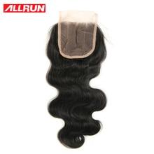ALLRUN Brazilian Body Wave Closure 4×4 Natural Color Non-Remy Hair 100% Human Hair Lace Closure Free Shipping