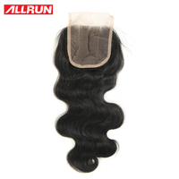 ALLRUN Brazilian Body Wave Closure 4x4 Natural Color Non Remy Hair 100 Human Hair Lace Closure