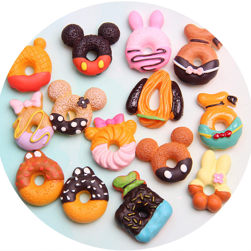 Happy Monkey 15pcs/pack DIY Slime Supplies Toys Resin Cartoon Donut Slime Accessories Filler for Fluffy Clear Crystal Slime