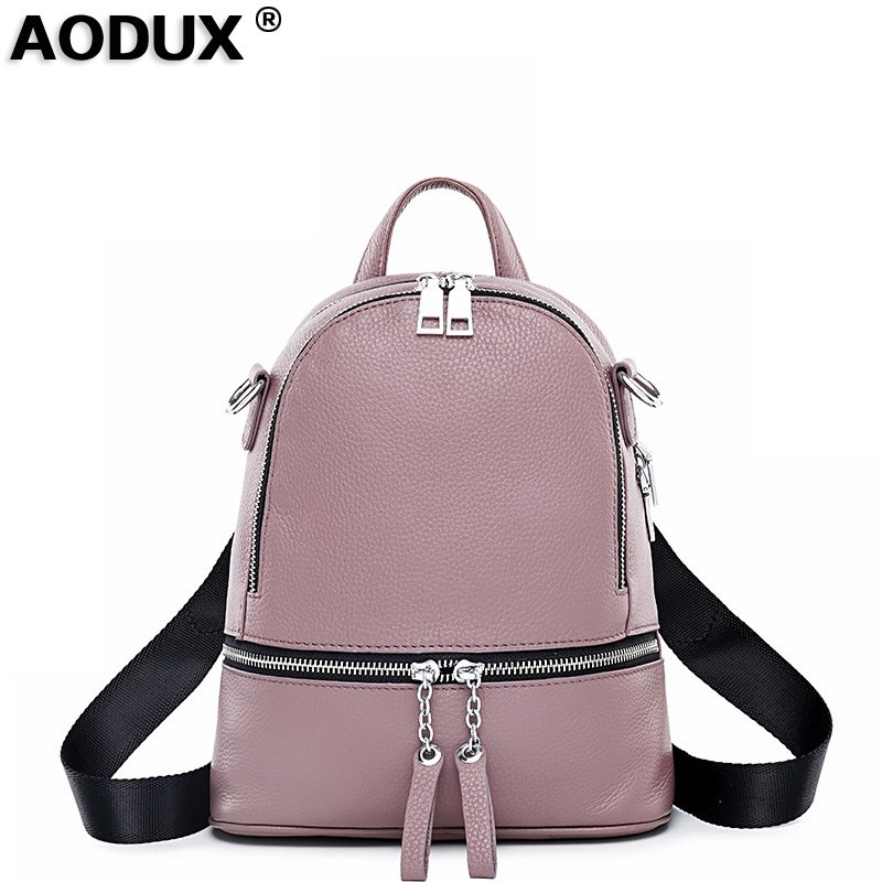 AODUX 2018 New 4 Colors 100 Genuine Leather Women s Travel Backpack Bags First Layer Cowhide