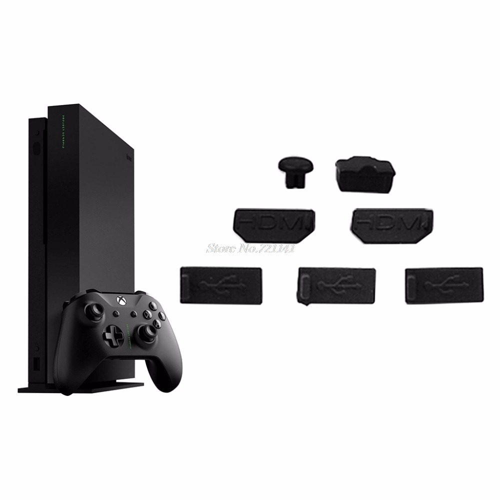 7pcs USB HDMI Dust Plug Cover For Xbox One X Gaming Console Dust Proof Cap Kits Electronics Stocks