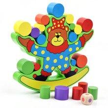 Цирковой медведь балансирующая основа Детские раннего обучения игрушки Монтессори обучение медведь баланс красочные раннего развития деревянные блоки игрушки