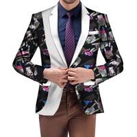 Men African Clothes African Dashiki Bazin Riche Ankara Wedding Party Dress Suit Blazer Jacket Tops Coat Casual WYN724