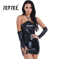 Sexy Exotic Womens Sexy Shiny Patent Leather Halter Fetish Open Butt Dress G String Gloves Women
