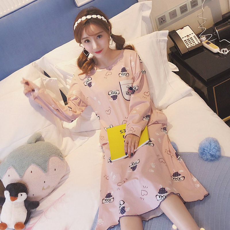 2019 Cute Cartoon Night Dress Women Sleepwear Soft Modal Nightwear Ladies Nightie Homewear Long Sleeve   Nightgown     Sleepshirts