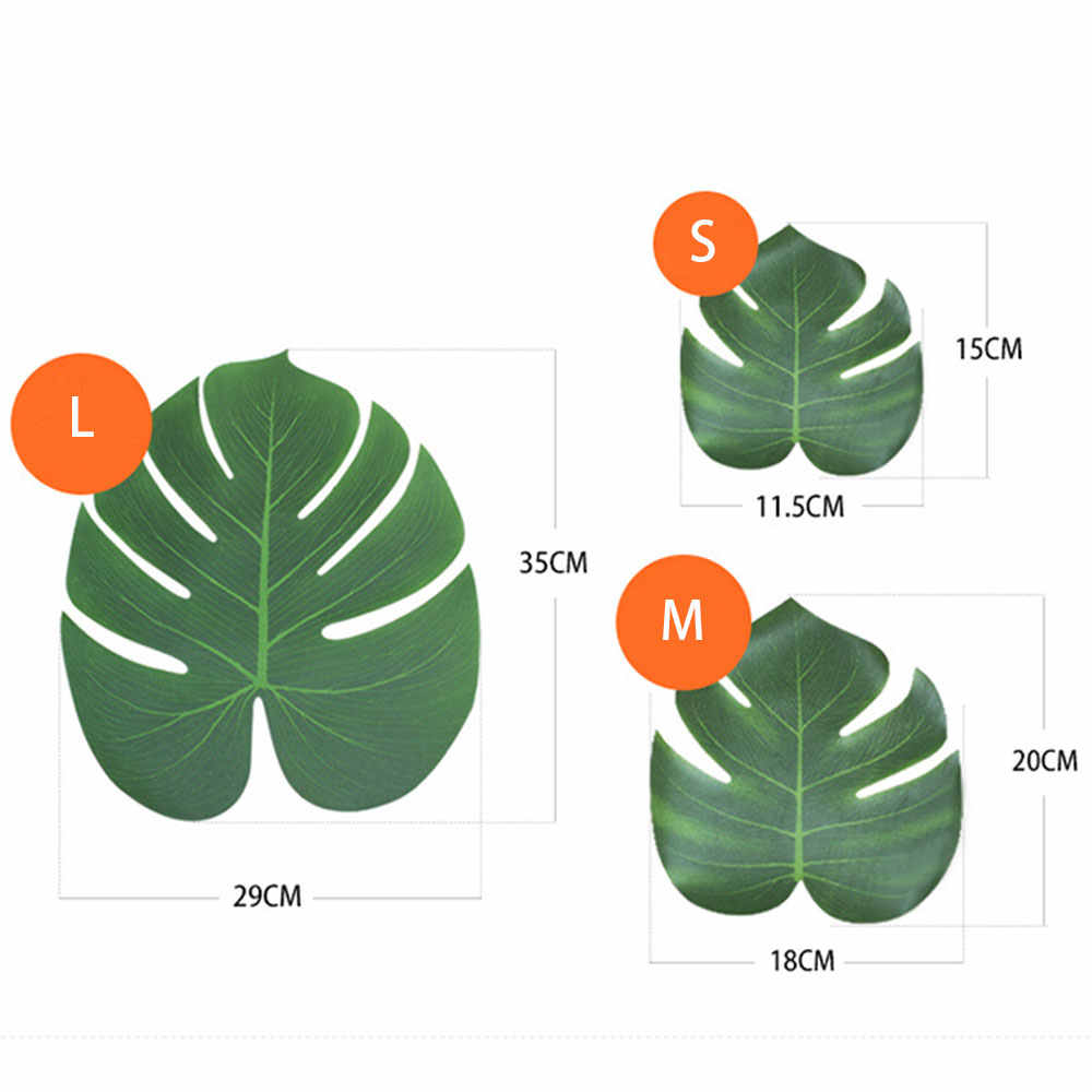 12 pçs/lote Tecido Artificial Simulação Folhas Monstera Folhas de Palmeira Tropical Hawaiian Luau Partido Selva Tema Da Praia Decoração de Mesa