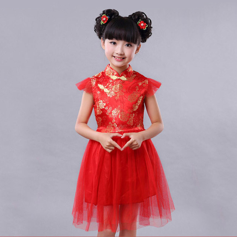 Retail Girl Red Cheongsam Chinese Style Tulle Bubble Dress