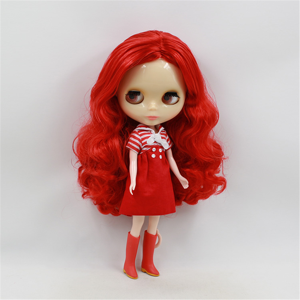 Blythe Nude Doll from Factory Translucent Skin Brownish Red Curly Hair With Bang