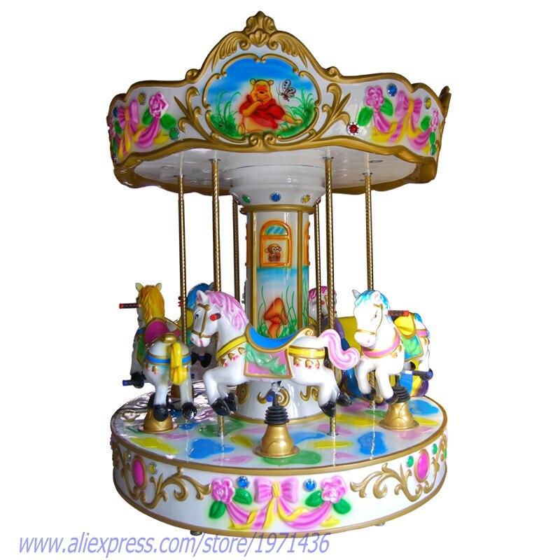 Enfants parc d'attractions équipement Arcade jeu Machine 6 sièges carrousels cheval monnayeur manèges pour enfants