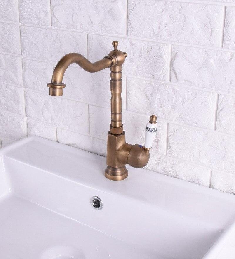Laiton Antique finition robinet de cuisine Bronze unique en céramique poignée eau chaude et froide cuisine évier robinet salle de bains bassin robinets asf114 - 2