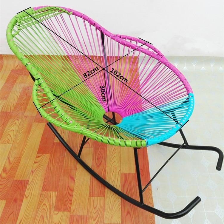 PE Cane Chair Rocking Chair Garden Chair Round Iron Courtyard Chair