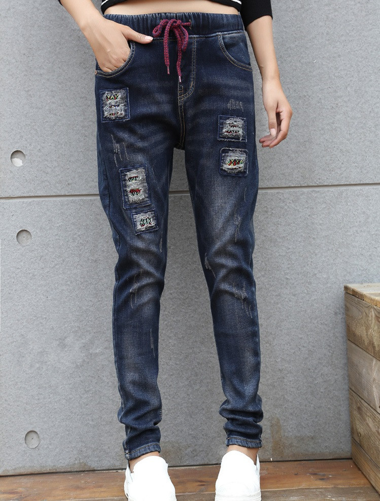 Winter Thicker Plus cashmere Was thin High waist Hole patch Loose waist Harem pants jeans autumn and winter boys pants 2015 new winter fashion star patch with good taste three oxford cashmere waist jeans code
