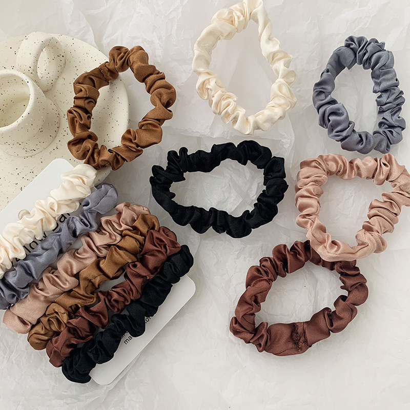 2019 Korea Solid Color Wrinkle Coth Elastic Hair Bands For Women Simple Hair Scrunchies 6PCS/sets Wholesale