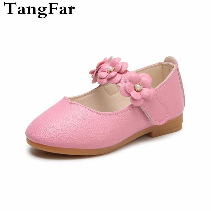 Children Leather Shoes Big Flower Flats Girls Soft Bottom Baby Kids Toddler Shoes Size 21-36 White Black Pink Rose