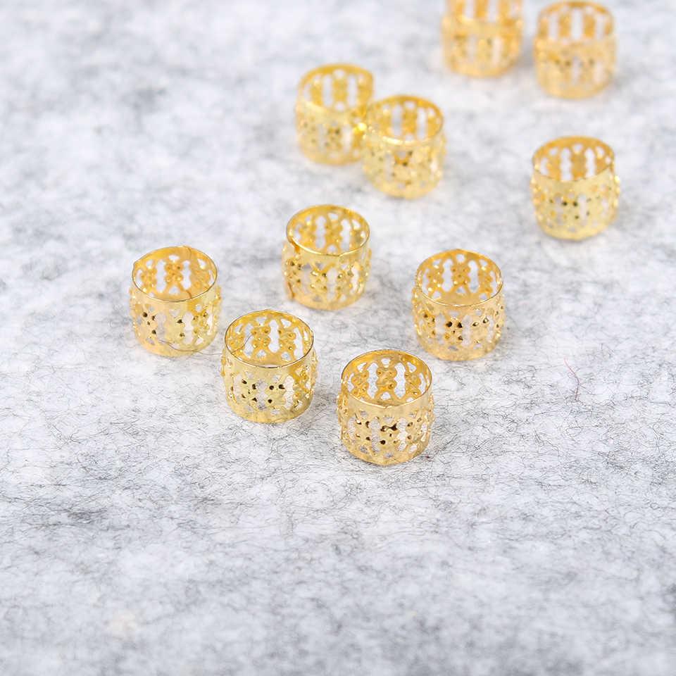 Красота дредлок бусины серебро Золотой синий зеленый красный розовый фиолетовый 100 шт/партия Регулируемый волос кольцо для косички зажим 8 мм металлический замок