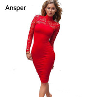 2016 Vintage Sexy High Neck Illusion Bodycon Dresses Lace Long Sleeves Stretch Dress Vestidos