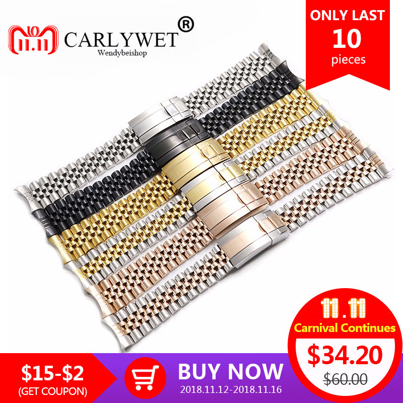 цена на CARLYWET 19 20mm Wholesale Hollow Curved End Solid Screw Links Steel Replacement Jubilee Watch Band Bracelet For Datejust