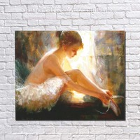 Ballet beauty girl Wall Art handpainted Oil Painting on Canvas abstract figure wall art picture for living room home decor
