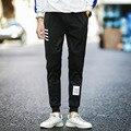Hip Hop High Street Pencil Feet Pants Elastic Waist Men Skinnly Pencil Pants Men Slim Fit Mens Casual Pants Straight Trousers