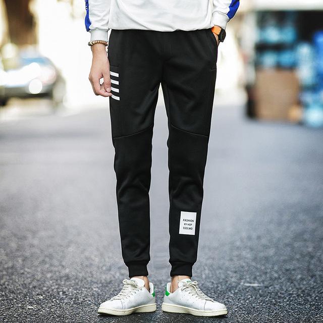 Hip hop rua lápis pés calças de cintura elástica homens Skinnly Calças Lápis Homens Slim Fit Mens Calça Casual Em Linha Reta calças