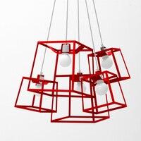 الرجعية الحديد الصناعي مكعب مربع إطار أدى قلادة ضوء الإبداعية غرفة ضوء ل غرفة الطعام شريط هندسي بسيط