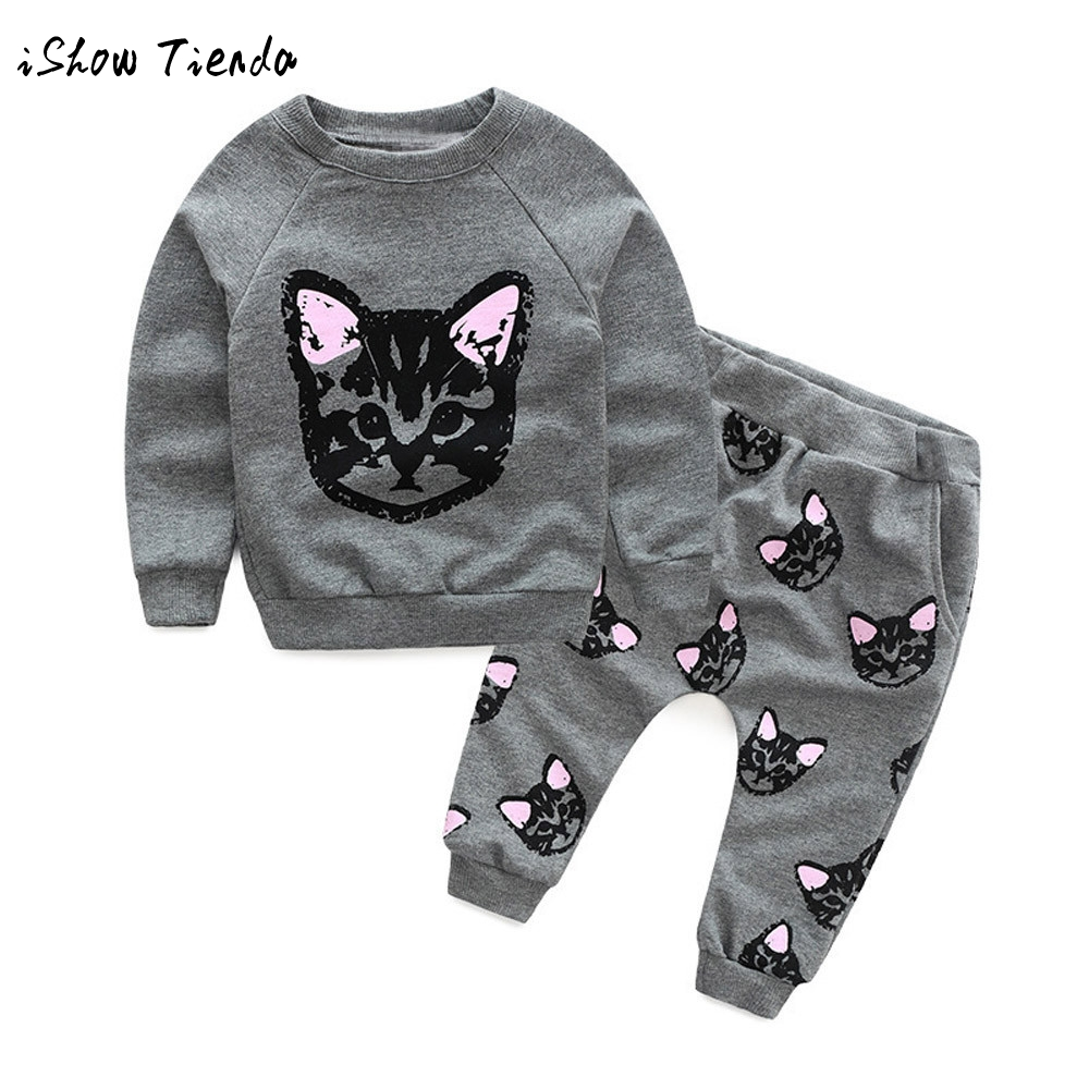 New Spring Autumn Girls Clothing Sets Sport Pullover Set Long Sleeve Cats Toddler baby Tracksuit+Harem Pants Kid 2pcs Suits Set