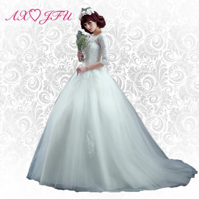 AXJFU Princess Bride lace wedding dress slim word small tail wedding ...