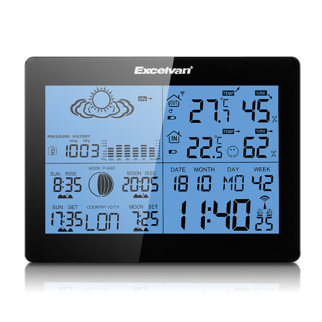 EXCELVAN Weather Station Wireless Indoor Outdoor Thermometer Hygrometer  Forecast Temperature Humidity Clocks Alarm Clock Radio