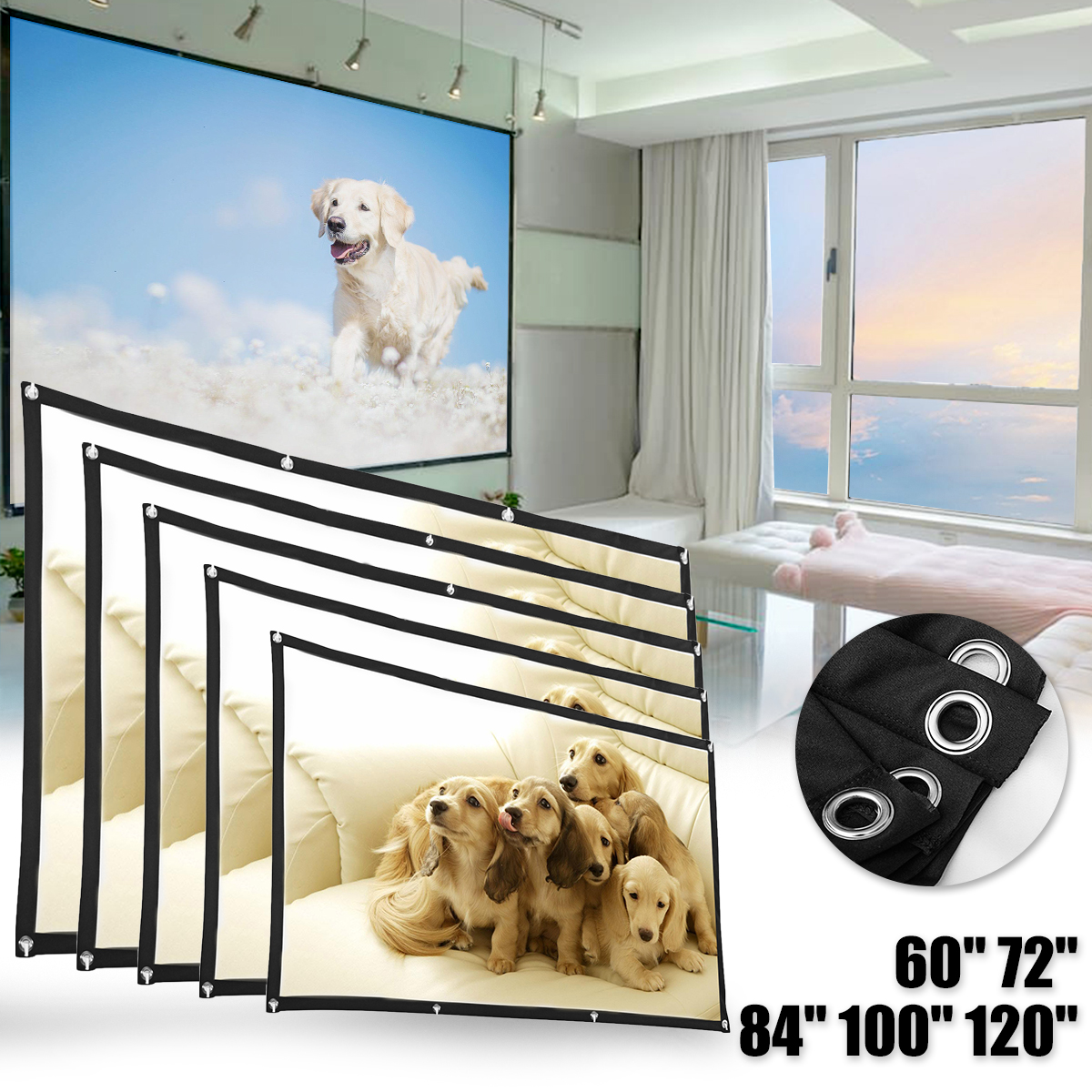 60 72 84 100 <font><b>120</b></font> Inch <font><b>16:9</b></font> Portable Projector <font><b>Screen</b></font> Projection HD Home Cinema Theater Foldable <font><b>Screen</b></font> Canvas for Projector image