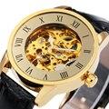 Vintage Skeleton Hombres Relogio masculino Relojes Analógico Reloj de Cuero Casual Hombres Reloj Mecánico Automático de Lujo de Oro Roma Dial