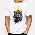 Мужская последнее 2017 мода коротким рукавом король лев печатных футболку смешные футболки Hipster О-Образным Вырезом прохладный топы