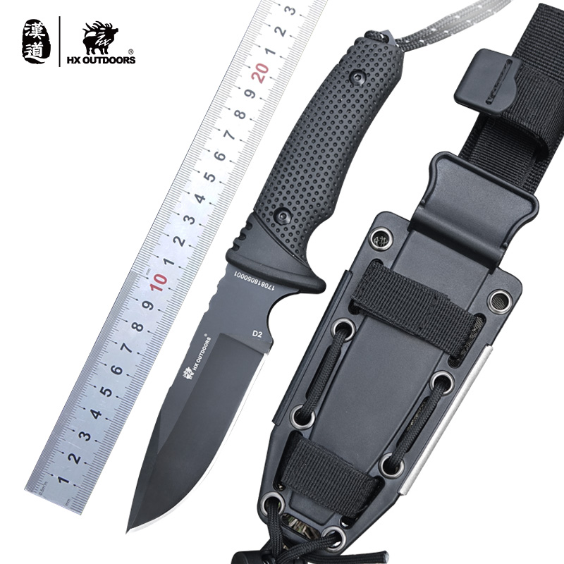 HX outdoor survival knife brand D2 steel blade fixed blade straight camping knives multi tactical rubber handle hand tools quality tactical folding knife d2 blade g10 steel handle ball bearing flipper camping survival knife pocket knife tools