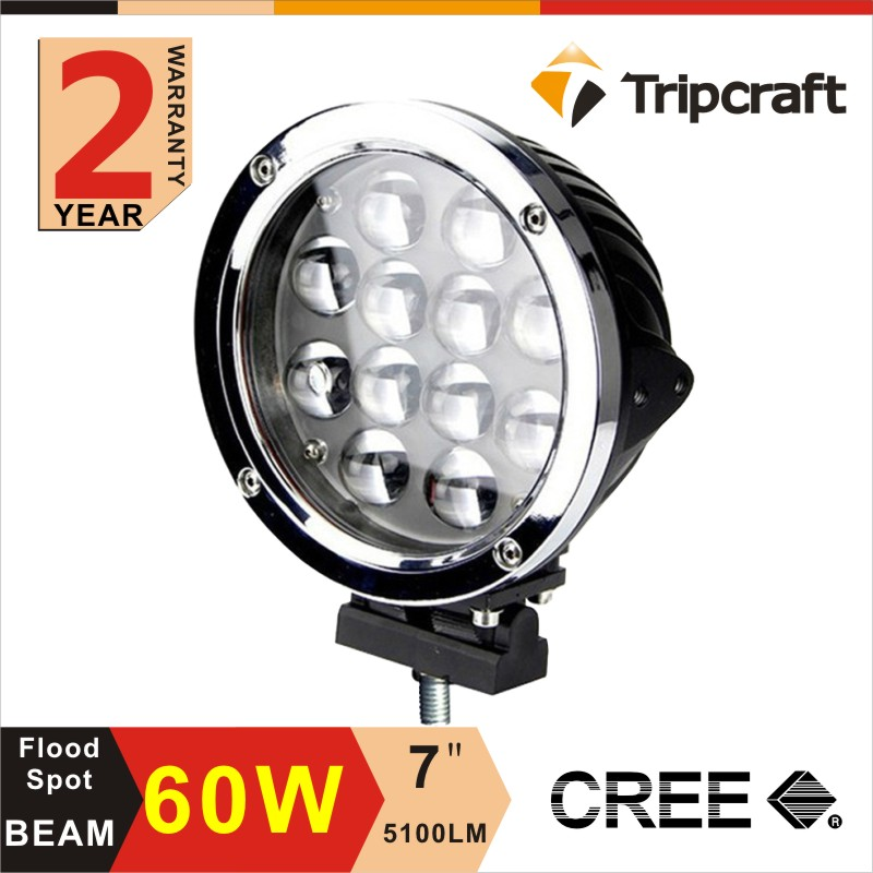 2Pcs 60W  LED Work Light Bar 12V Spot High Power 12X 5W DRL For 4x4 Offroad ATV Truck Motorcycle JEEP SUV Driving Fog Lamp
