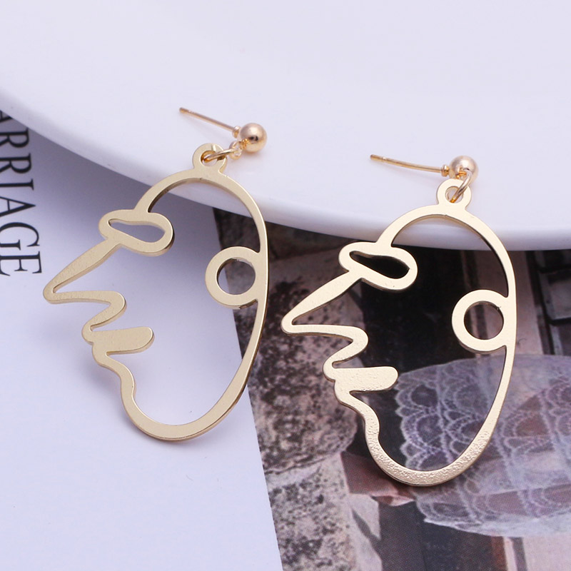 19 New Arrival Abstract Stylish Hollow Out Face Dangle Earrings Girls Statement Drop Earrings Charm Statement Earrings ES4 5