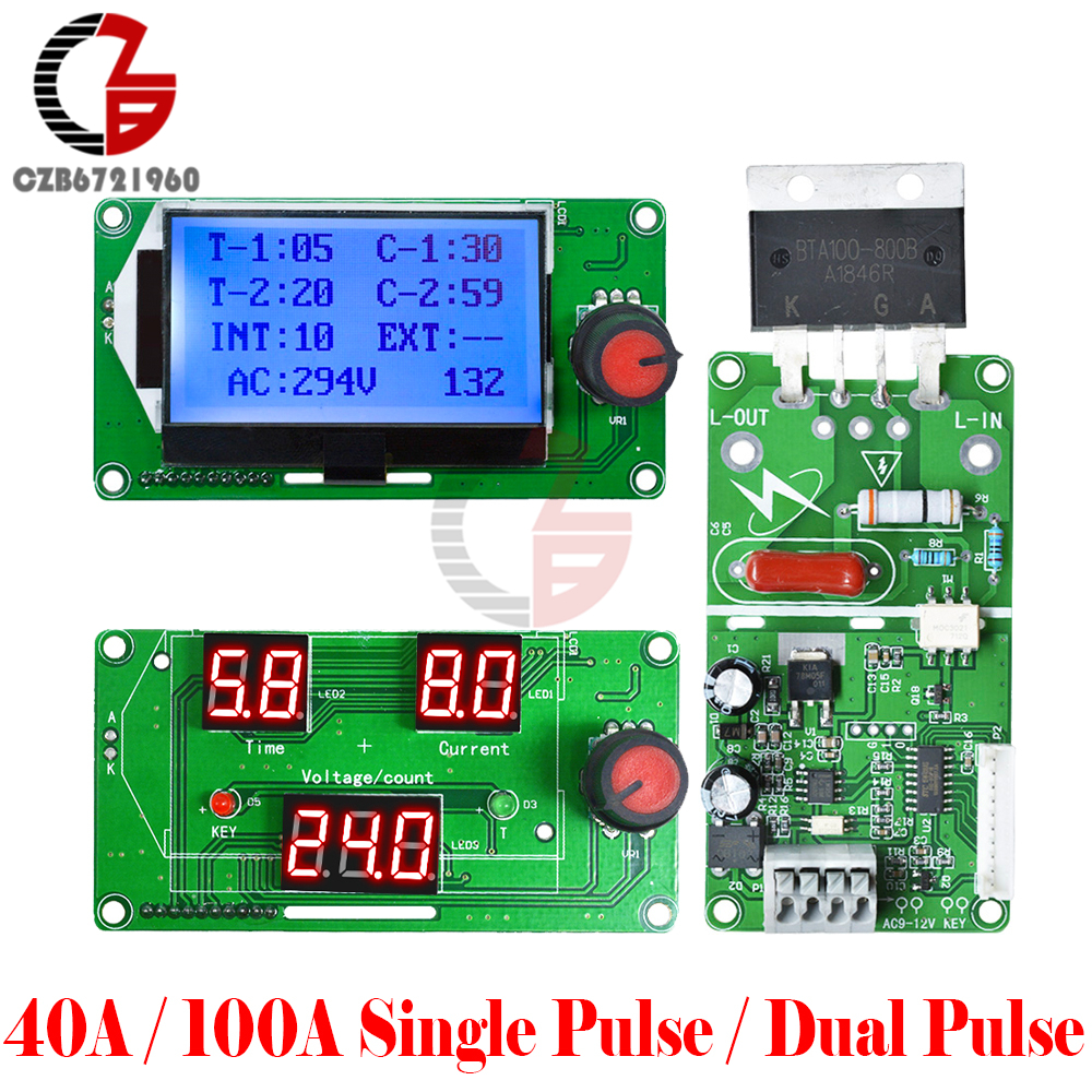 40A 100A Single Double Pulse Digital Spot Welder Weldering Controller Board Spot Solder Soldering Machine Time Control Module
